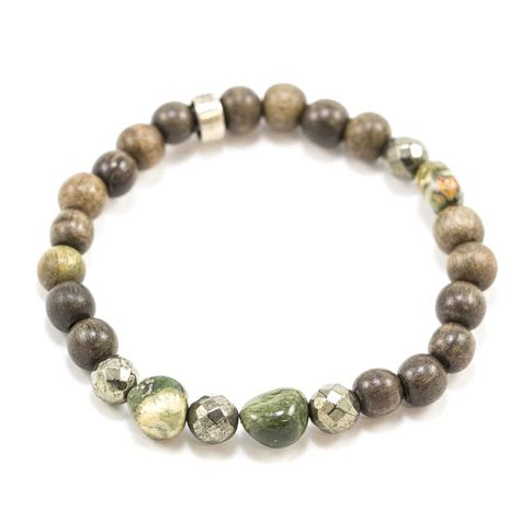 s grey wood and moss agate beaded bracelet niyama
