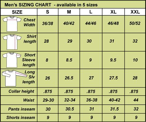 s clothing size chart s clothing size chart