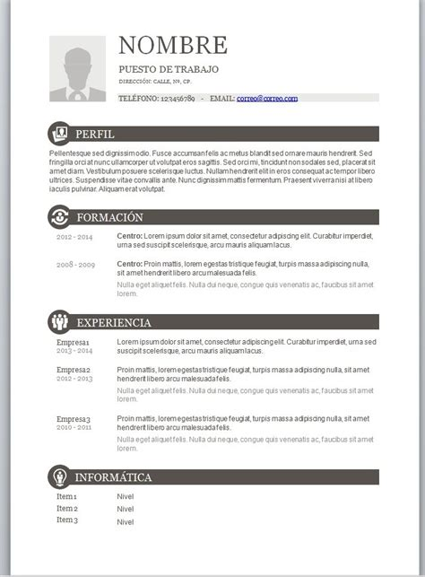 Modelo Curriculum Vitae Word Con Foto modelos de curriculum vitae en word para completar