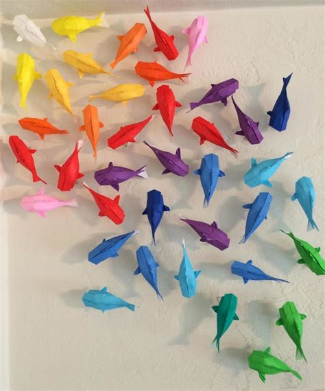 Paper Folding Fish - wall of rainbow koi 183 how to fold an origami fish