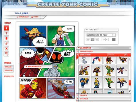 make a comic create your own comic the awesomer