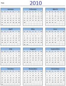 Calendar Template For Excel 2010 free 2010 calendar and print year 2010 calendar