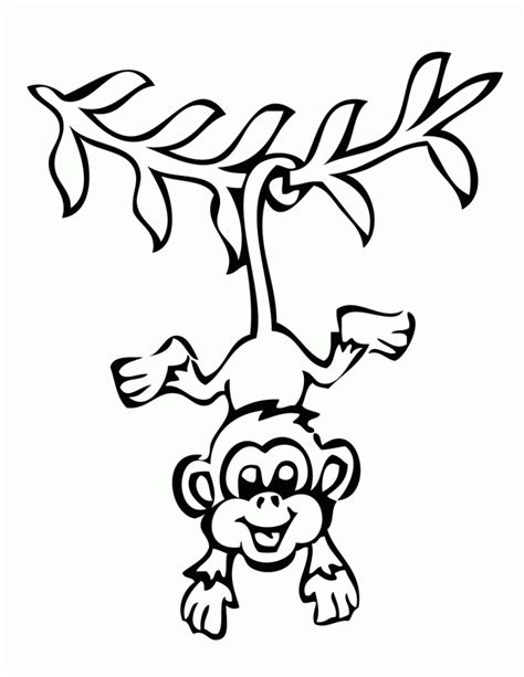 cartoon monkey coloring page hanging monkey cartoon cliparts co