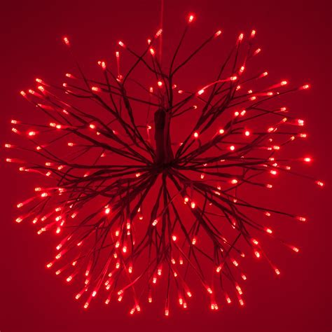 red starburst lighted branches  red cool white led