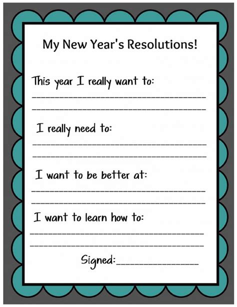 new year printables kid friendly new year s resolution printable