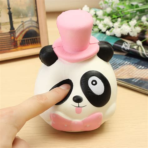 Squishy Panda Hat Berkualitas 1 squishy mr panda hat bow tie jumbo 14cm rising collection gift decor sale banggood