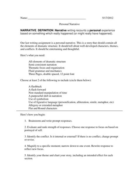 Narrative Essay Assignment by Igcse Assignment 2 Narrative By Nellskip Teaching Resources Tes