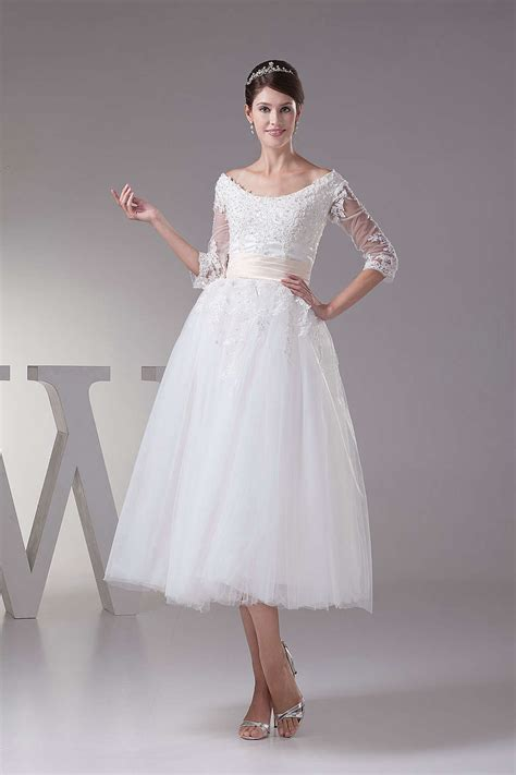 Length Wedding Dress by Simple Tea Length Wedding Dresses With Sleeves Dresses Trend