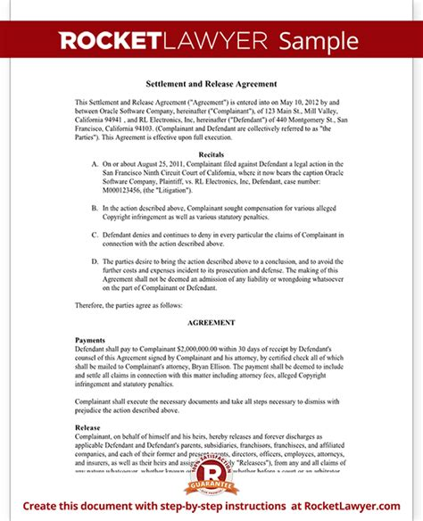 settlement and release agreement release of claims with