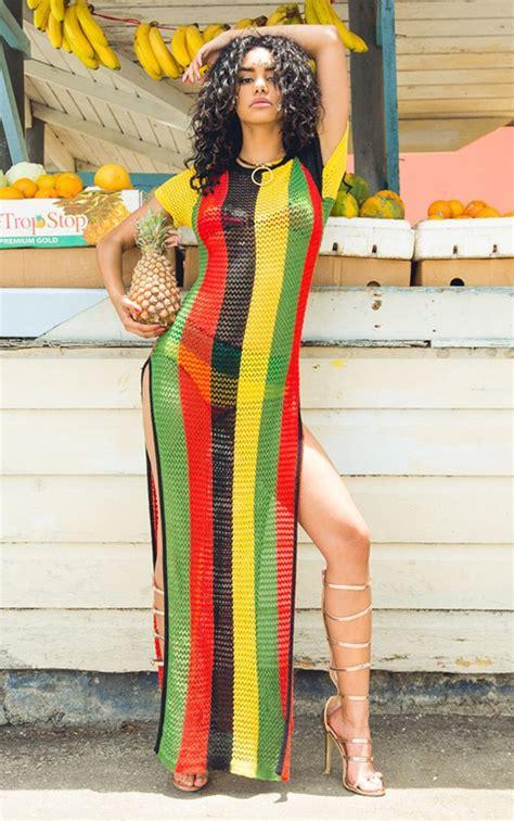 jamaican colored bathing suit dress jamaican color side split side split maxi dress