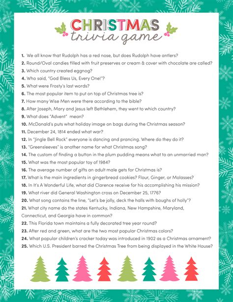 printable christmas games and quizzes free christmas trivia game