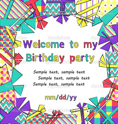 12 Birthday Invitation Vector Images Happy Birthday Party Invitations Child S Birthday Birthday Invitation Background Templates
