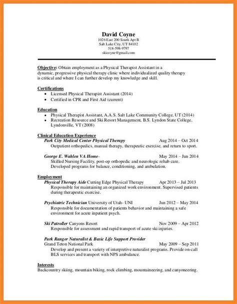 physical therapy resume format physical therapy resume sle bio resume sles