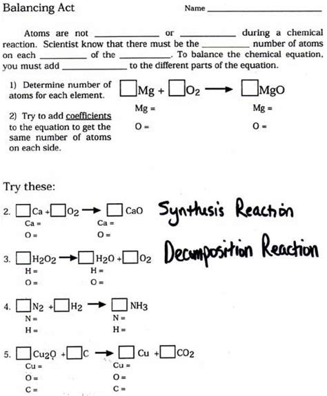 2 4 chemical reactions worksheet answers balancing equations grade 10 worksheet balancing equations ws key pdf chemical eguations
