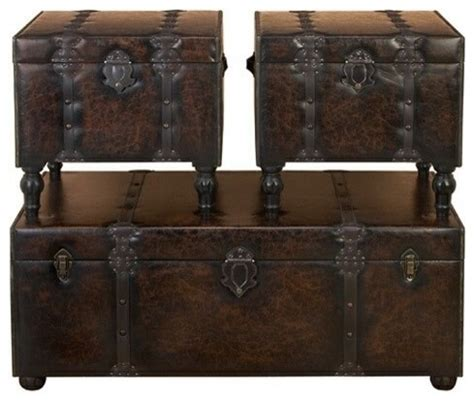 Trunk Coffee Table Set Set Of 3 Custom House Leather N Wood Chest Trunks Traditional Coffee Table Sets