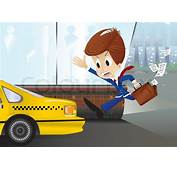 Running Businessman Are Trying To Catch A Taxi  Stock