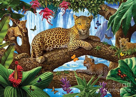 tree top leopard family digital art by steve crisp