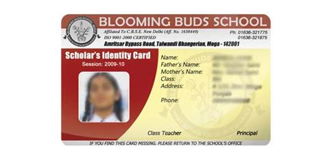 id card design for college blooming buds school moga