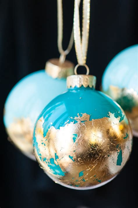diy christmas ornaments diy painted gold leaf ornaments the sweetest occasion