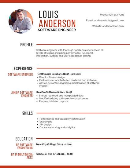 Software Engineer Resume by Customize 298 Professional Resume Templates Canva