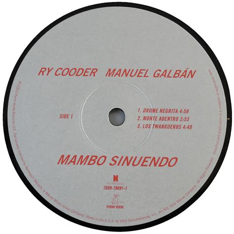 vinyl format cd ry cooder manuel galb 225 n mambo sinuendo us original 2