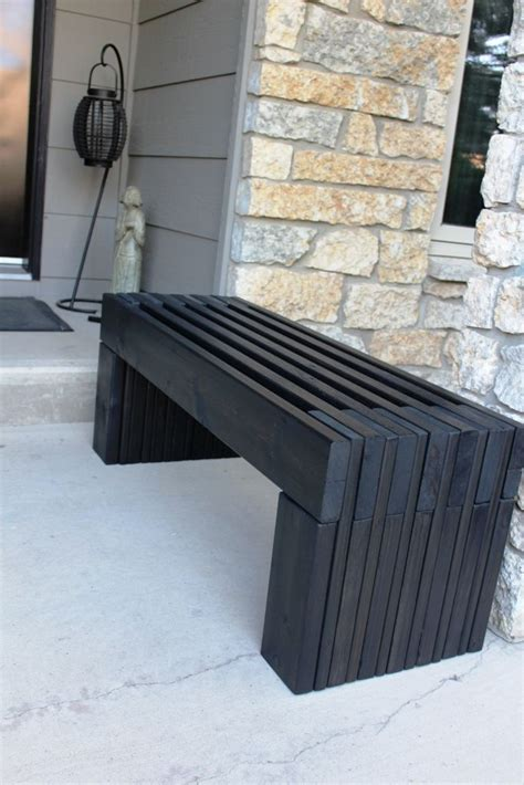 Black Wood Bench Seat by Modern Slat Top Outdoor Wood Bench Back Yard Inspiration
