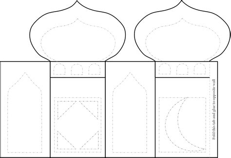 template for lantern ramadan craft project mosque lantern zaufishan