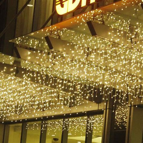 do icicle christmas lights use much power hanging icicle curtain lights 304 led outdoor string wedding 110v ebay