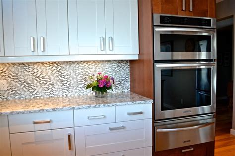 grimslov ikea shaker cabinets in white and medium brown traditional kitchen other metro