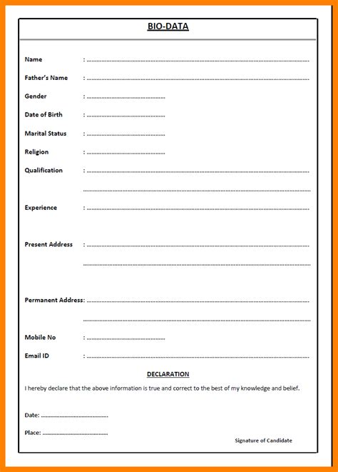 Pdf What Are Some Position by 5 Biodata Format For Pdf Bike Friendly