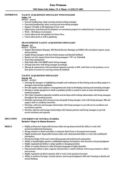 talent acquisition manager resume exle talent acquisition specialist resume sles velvet