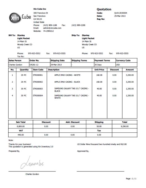 doc 460595 sle for quotation price quotation format