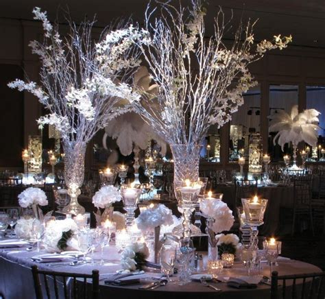 Winter Wedding Centerpieces in Crystal Vases   Center