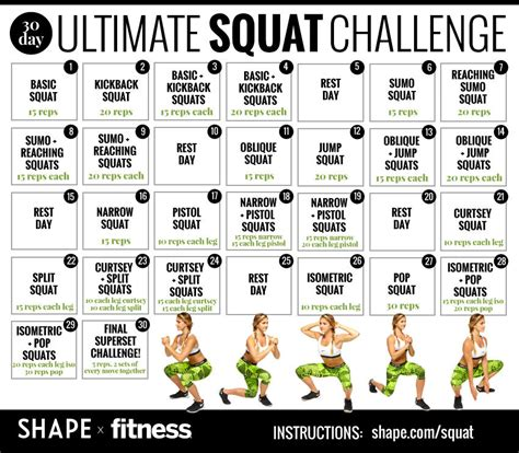 the shape challenge the 30 day squat challenge that will totally transform