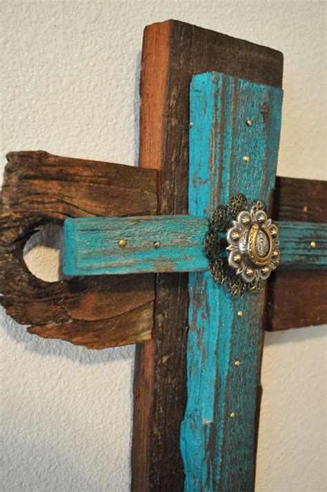 rustic fabric cross rustic home decor rustic cross fabric turquoise rustic western cross one of a kind by