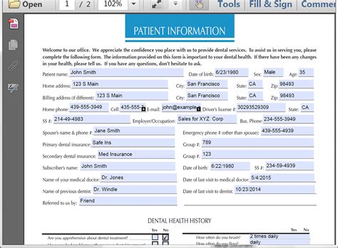 patient database template automatically populate patient registration forms with