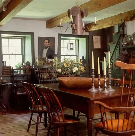 Colonial Home Interiors Farmhouse Interior Vintage Early American Farmhouse Showcases Raised Panel Walls Barn Wood
