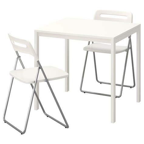 White Folding Table And Chairs Nisse Melltorp Table And 2 Folding Chairs White White 75 Cm Ikea