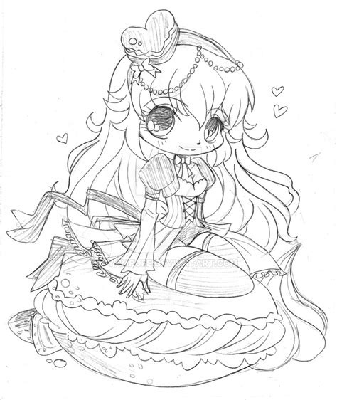 macaroon hikaru commission lineart by yuff on macaroon chibi commission sketch by yampuff on deviantart