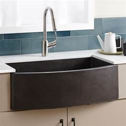 slate kitchen faucet farmhouse quartet curved apron front sink trails