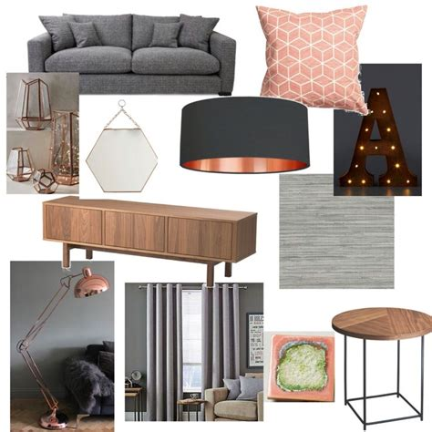 copper room decor grey blush copper living room new home pinterest
