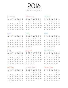 Calendar 2017 1 Page Calendars 2016 Vector 03 Vector Calendar Free