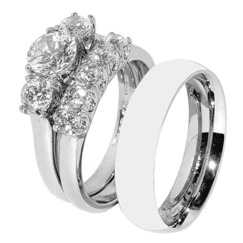 his hers 3 pcs stainless steel wedding ring set and