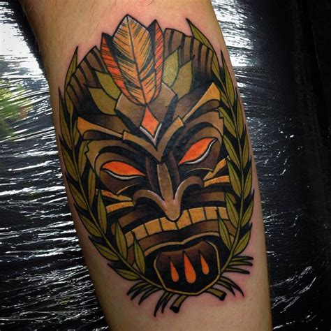 tiki tattoos tiki mask on leg calf