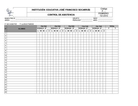 lista de asistencia formato en blanco formato control de asistencia estudiantes