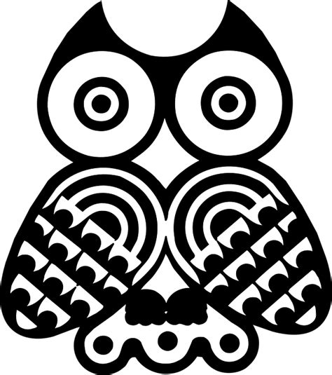 black and white owl pattern owls bird black 183 free vector graphic on pixabay