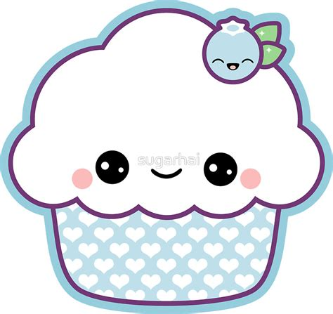 """""""Cute Blueberry Cupcake"""" Stickers by sugarhai   Redbubble"""