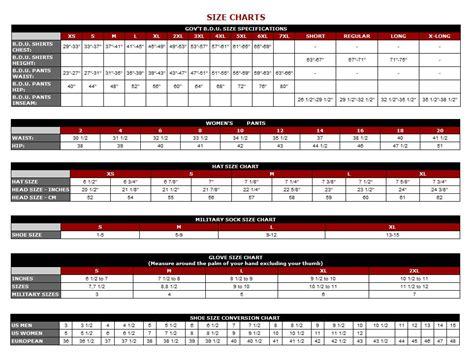 uk army size chart
