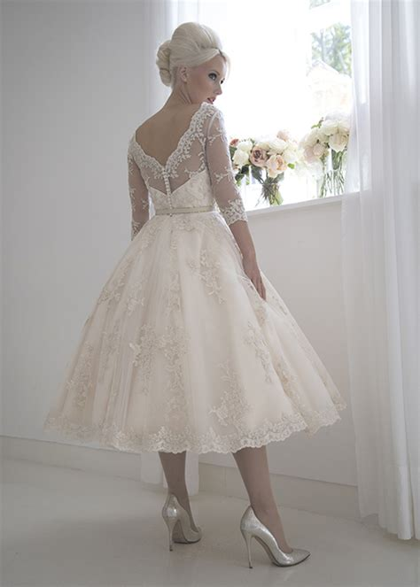 Wedding Dresses Tea Length by Frances Beaded Chagne Vintage Tea Length Wedding