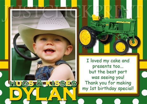 free printable john deere thank you cards john deere inspired birthday photo thank you card 183 just